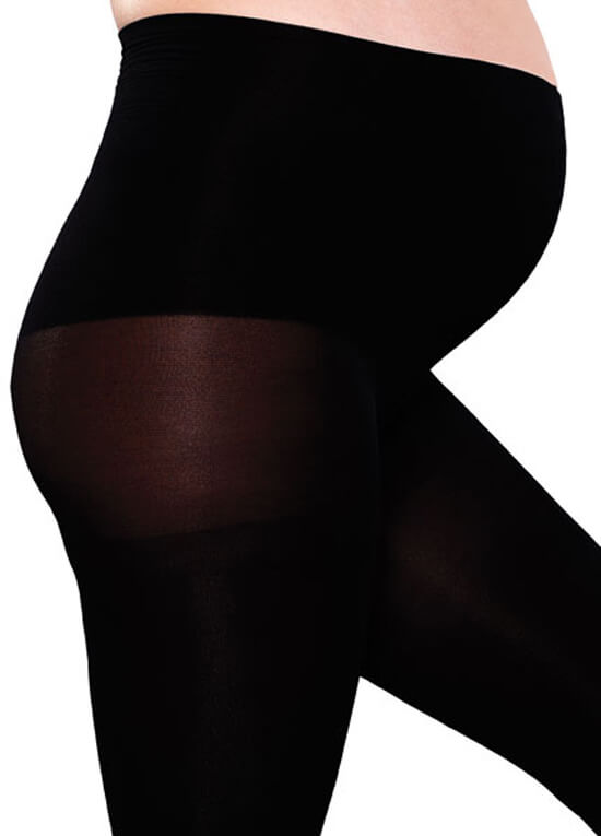 Maternity Compression Footless Tights in Black by Preggers