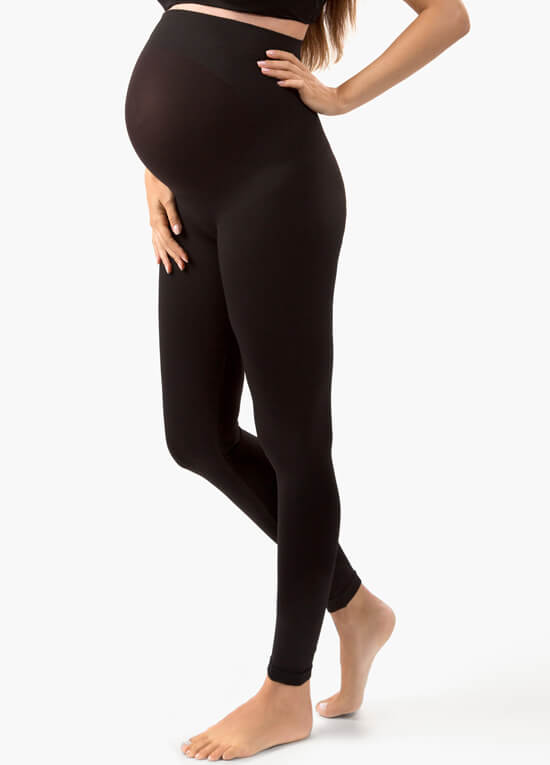Belly Lift & Support Maternity Leggings in Black by Blanqi