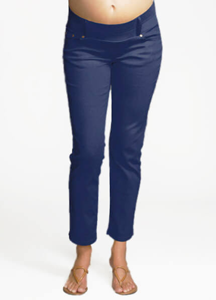Navy Skinny Ankle Maternity Jeans by Maternal America