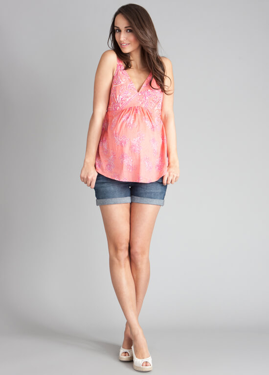 Coral Print Cotton Maternity Cami Top By Seraphine