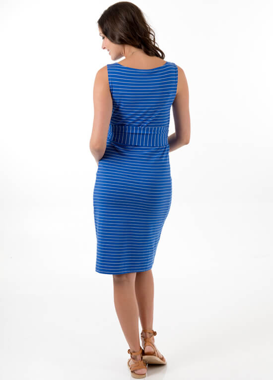 Taylor Maternity Shift Dress in Blue Stripe by Trimester Clothing