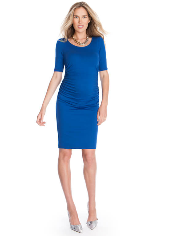 Side Ruched Maternity Dress In Blue By Seraphine