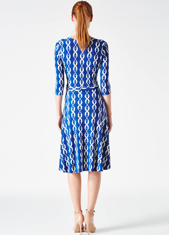 Navy Robins Egg Print Perfect Maternity Wrap Dress by Leota