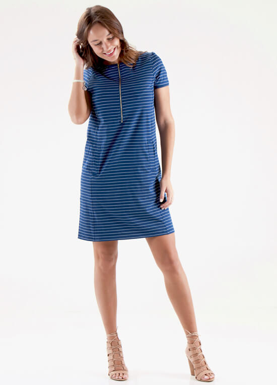 Caleb postpartum zip nursing dress in blue stripe by floressa for Postpartum dresses for wedding