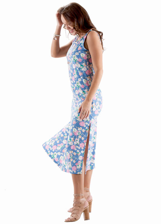 Cora Postpartum Nursing Maxi Dress in Blue Floral by Trimester