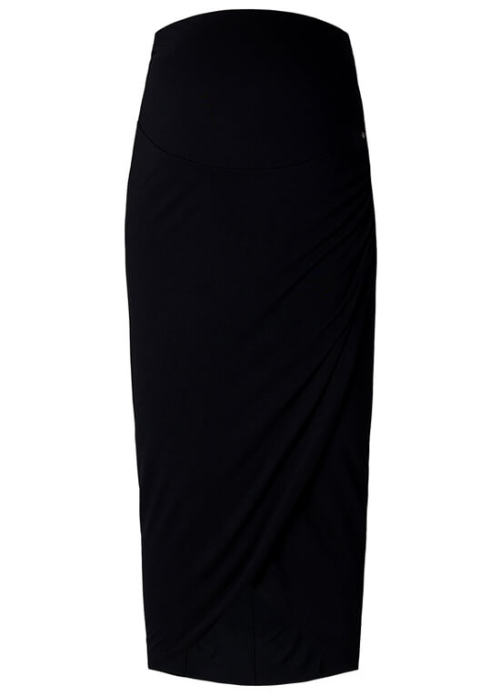 Over Bump Faux Wrap Maternity Maxi Skirt in Black by Esprit