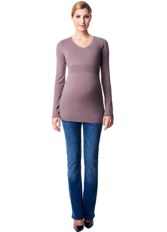 Cashmere Blend Fitted Maternity Knit Jumper in Taupe by Esprit