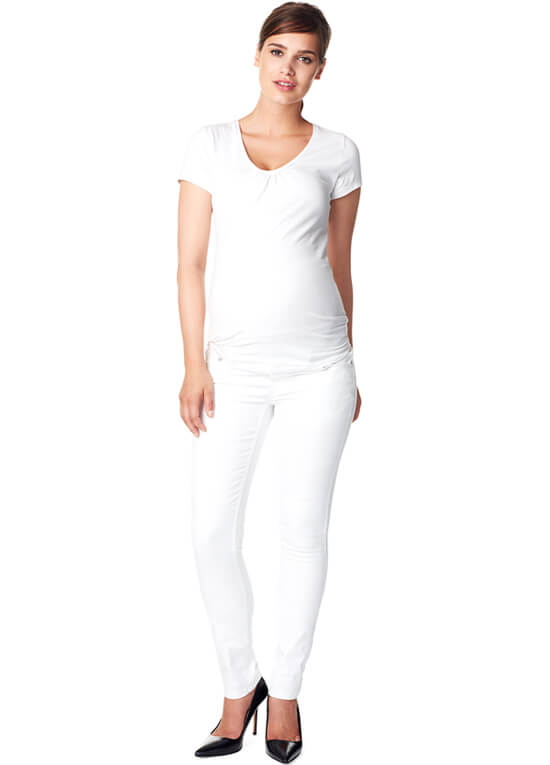 Leah Slim Fit White Maternity Jeans by Noppies