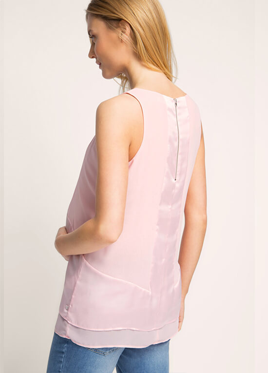 Satin And Chiffon Maternity Blouse In Light Pink By Esprit