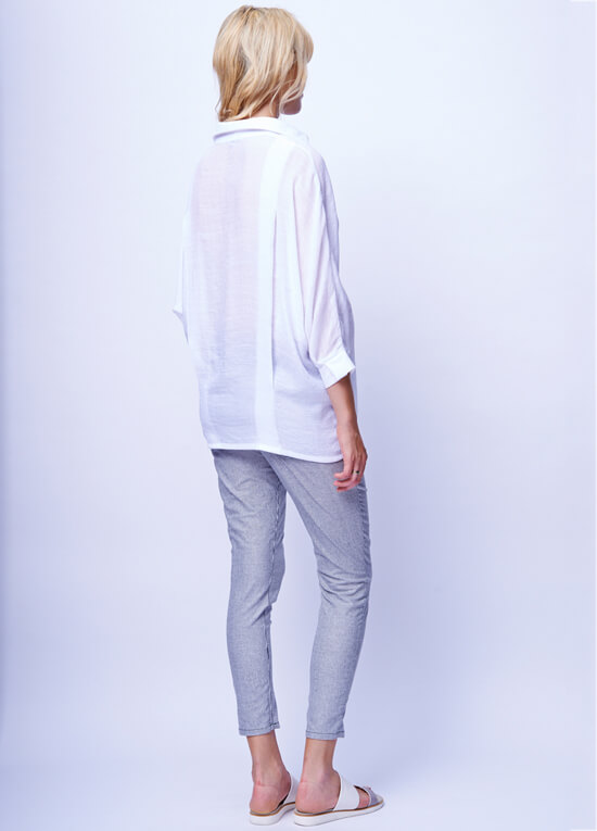 Oversize Maternity Blouse in White by Maternal America