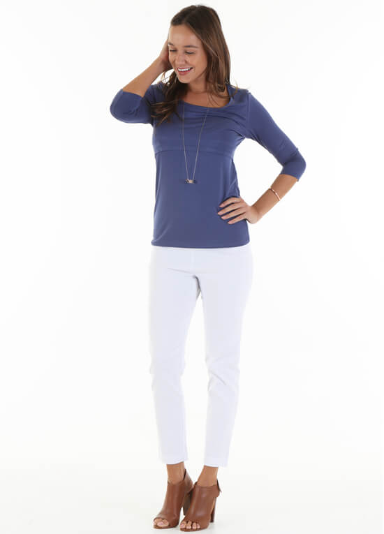 Alana Postpartum Nursing T-Shirt in Blue by Trimester Clothing