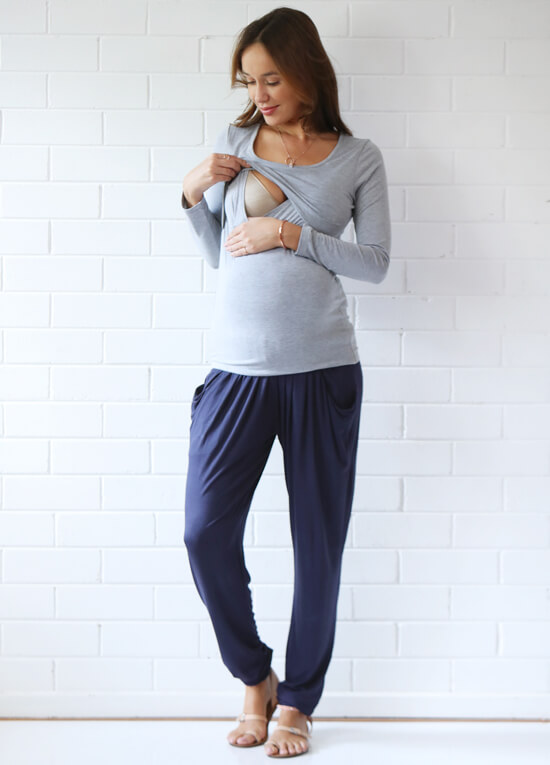 Mallory Postpartum L/S Nursing Top in Grey by Trimester