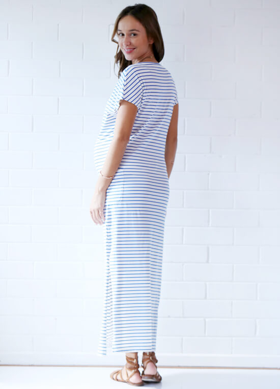 Aria Blue Striped Maternity Maxi Dress by Trimester Clothing