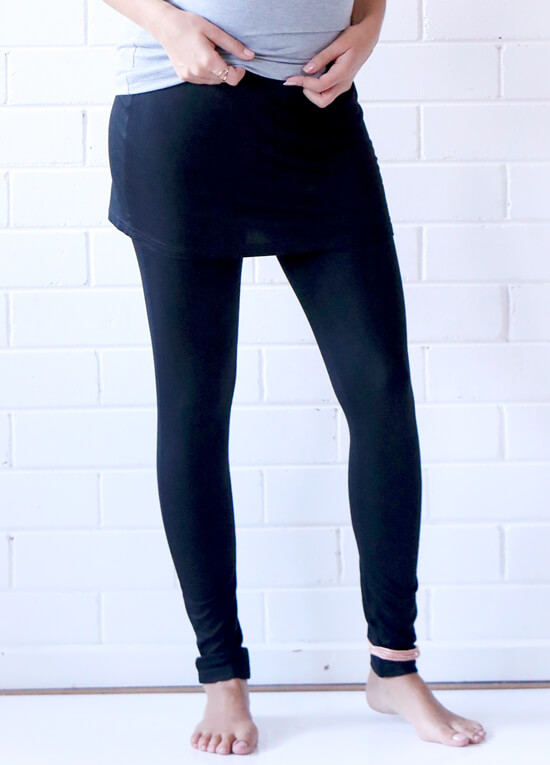 Brooks Skirted Maternity Legging in Black by Trimester Clothing