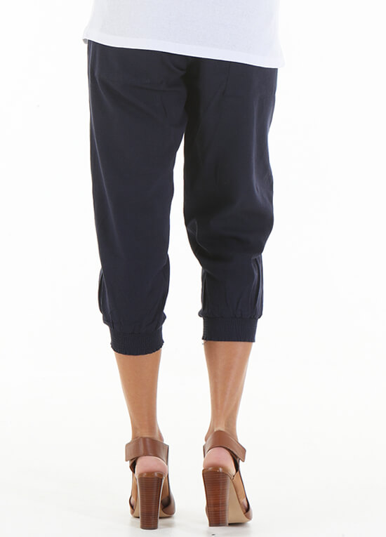 Zackary Navy Maternity Linen Pants by Trimester Clothing