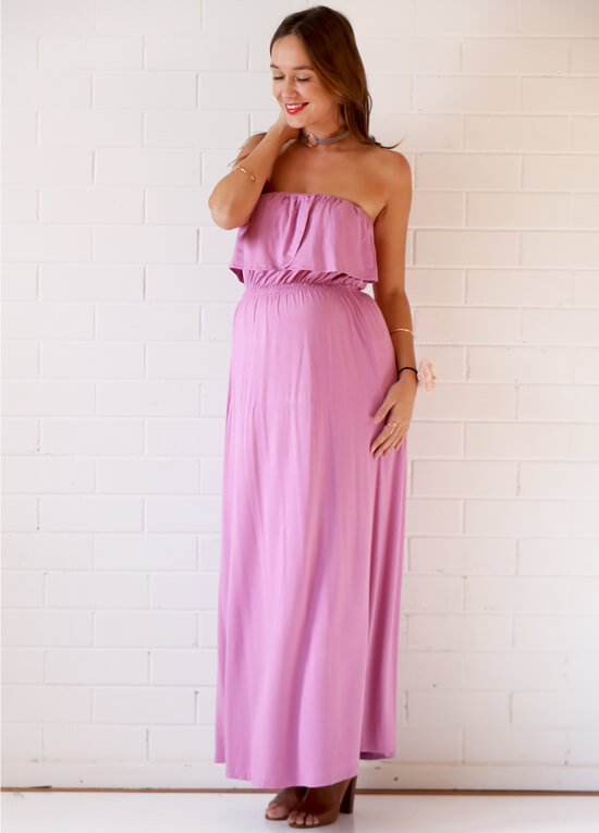 Nelson Strapless Nursing Maxi Dress in Persian Rose by Trimester