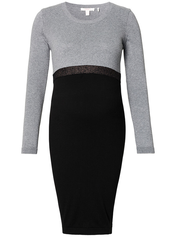 Knitted Black/Grey Colour Block Maternity Dress in  by Esprit