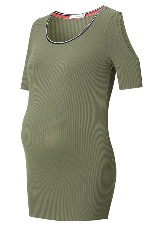 Pearl Cut-Out Shoulder Maternity Top by Supermom