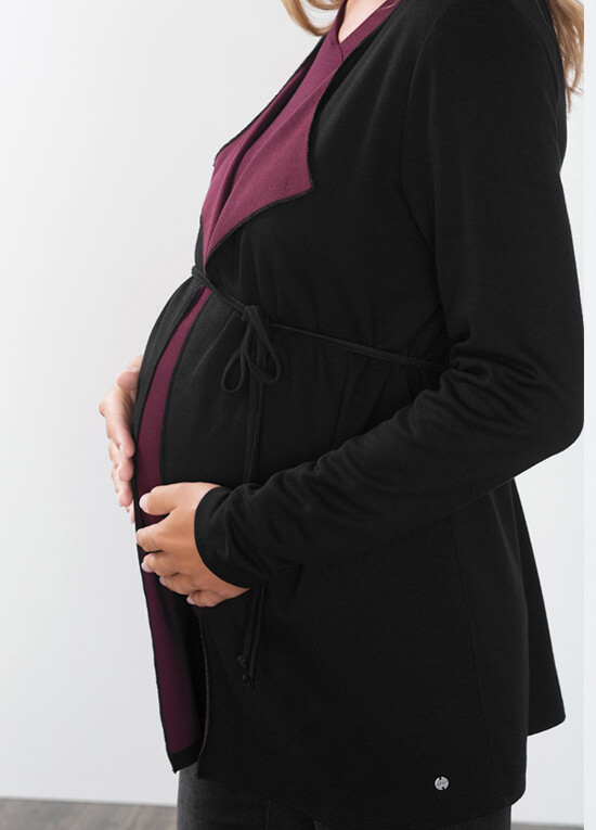 Contrast Interior Black Maternity Cardigan by Esprit