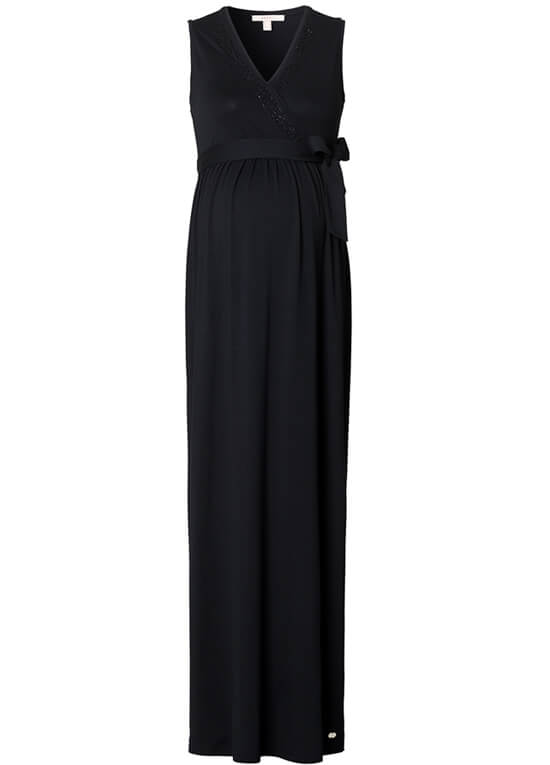 Beaded Neckline Maternity Maxi Dress in Black by Esprit