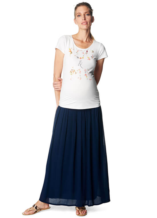 You & Me Vintage Print Maternity Tee in White by Esprit