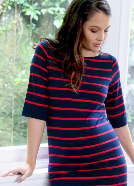 Honore Maternity Shift Dress in Navy/Red Stripes by Trimester