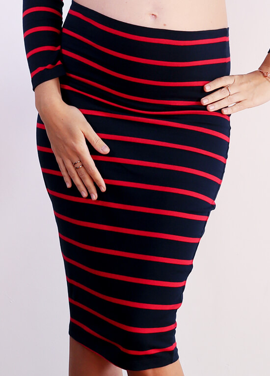 Haidee Maternity Skirt in Navy/Red Stripes by Trimester Clothing