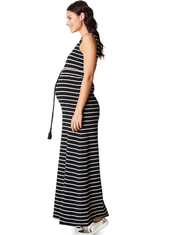 Mila Maternity Maxi Dress in Black Stripes by Noppies
