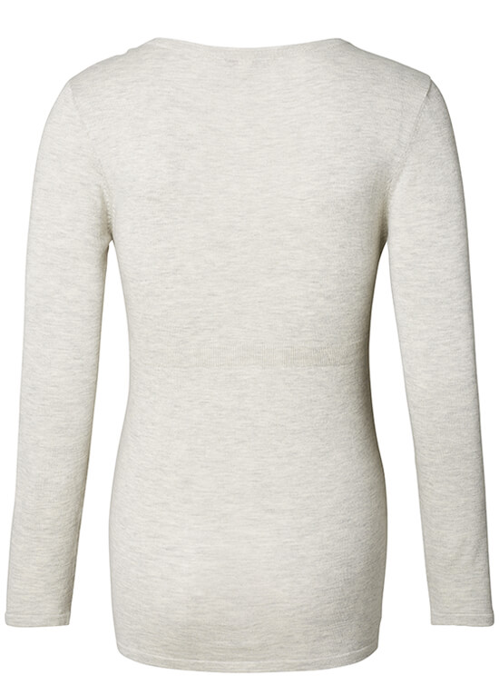 Fitted Cotton Knit Maternity Jumper in Pale Grey by Esprit