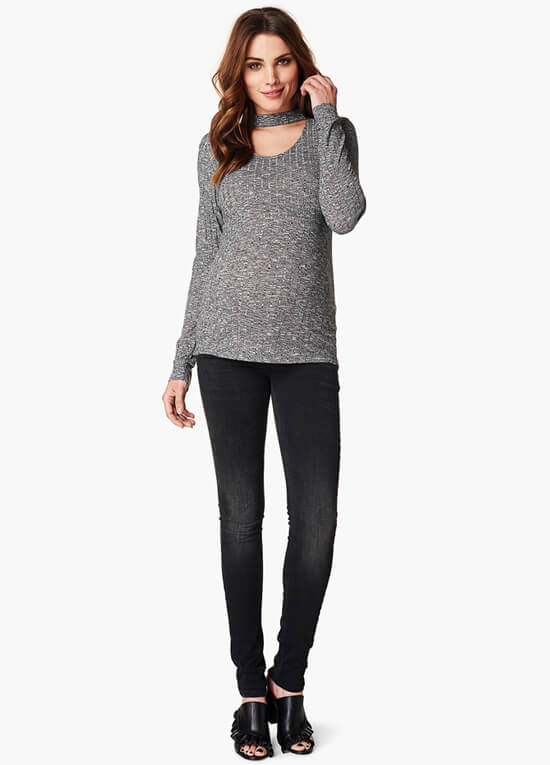 Giovanna Choker Knit Maternity Top in Anthracite by Noppies