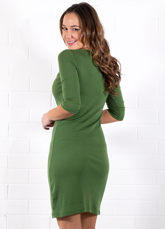 Anika Breastfeeding Dress in Forest Green by Trimester Clothing