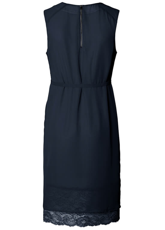 Lace Hem Chiffon Maternity Dress in Night Blue by Esprit
