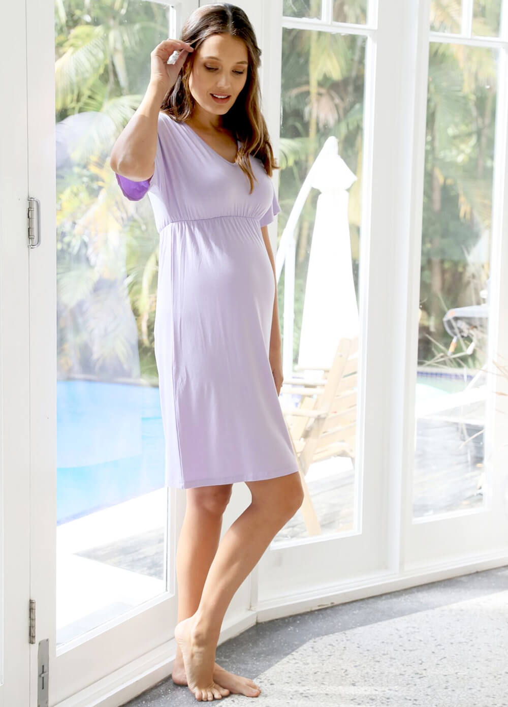 Floressa Lucinda Maternity Lounge Dress in Lilac | Queen Bee