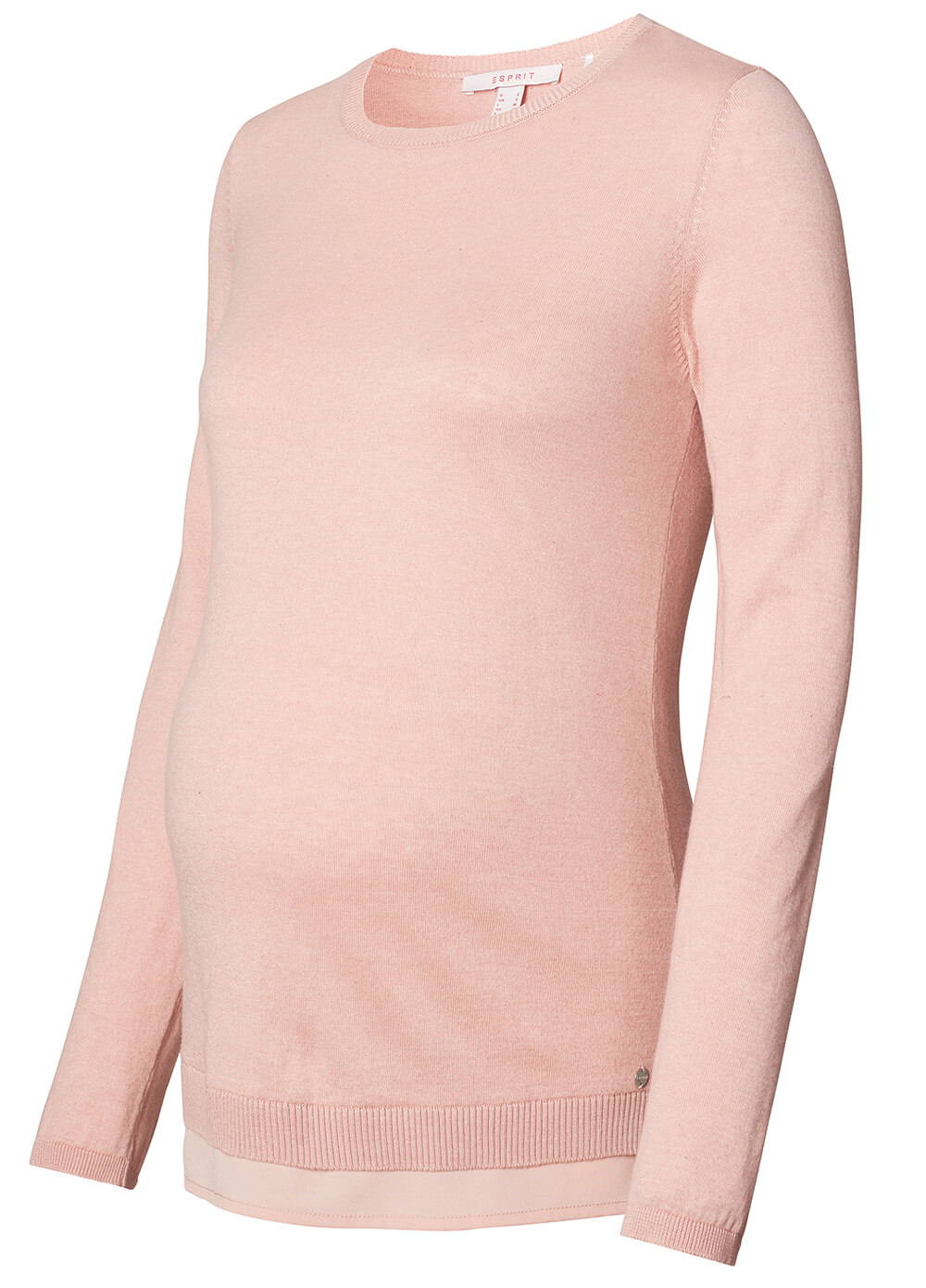 Maternity Knit Jumper w Blouse Hem in Champagne Pink by Esprit