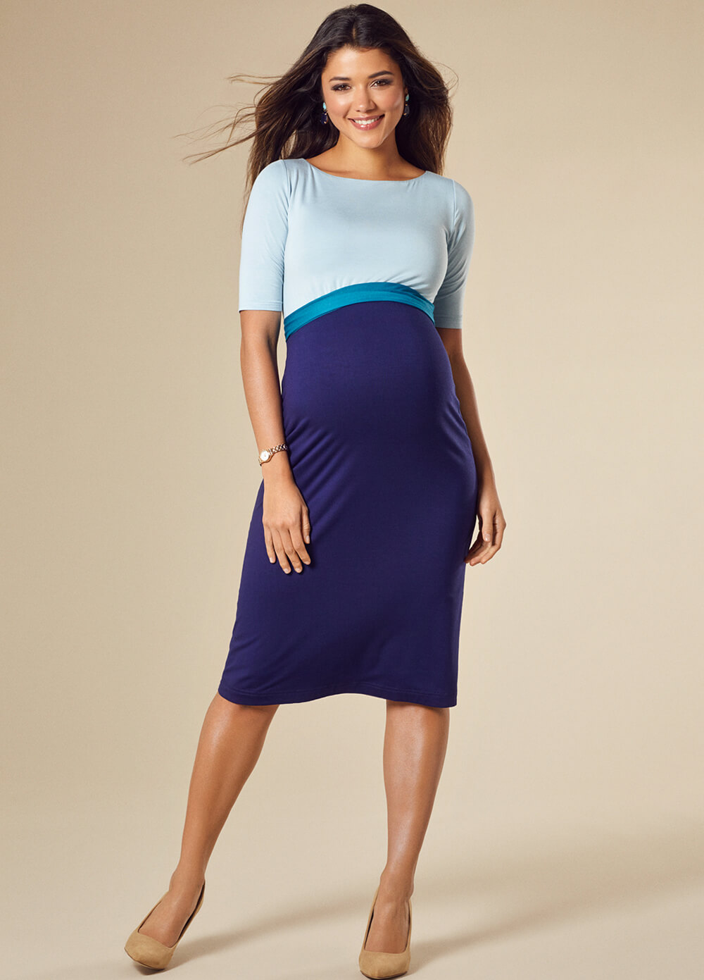 Anna Maternity Shift Dress in Celestial Blue by Tiffany Rose