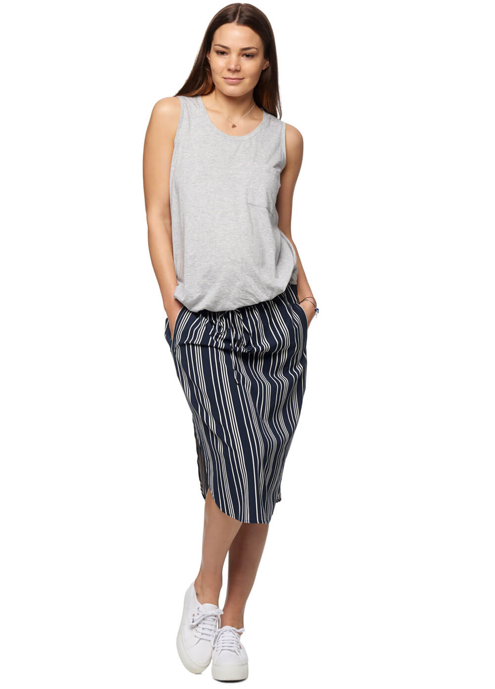 Mind Over Matter Maternity Skirt in Navy Stripes by Bae The Label