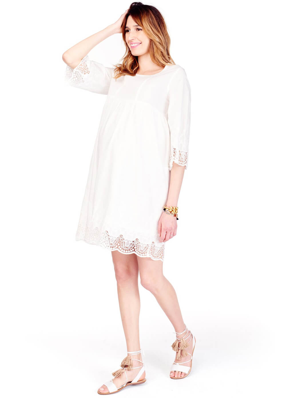 Lace Trim Bell Sleeve Maternity Dress in Ivory by Ingrid & Isabel