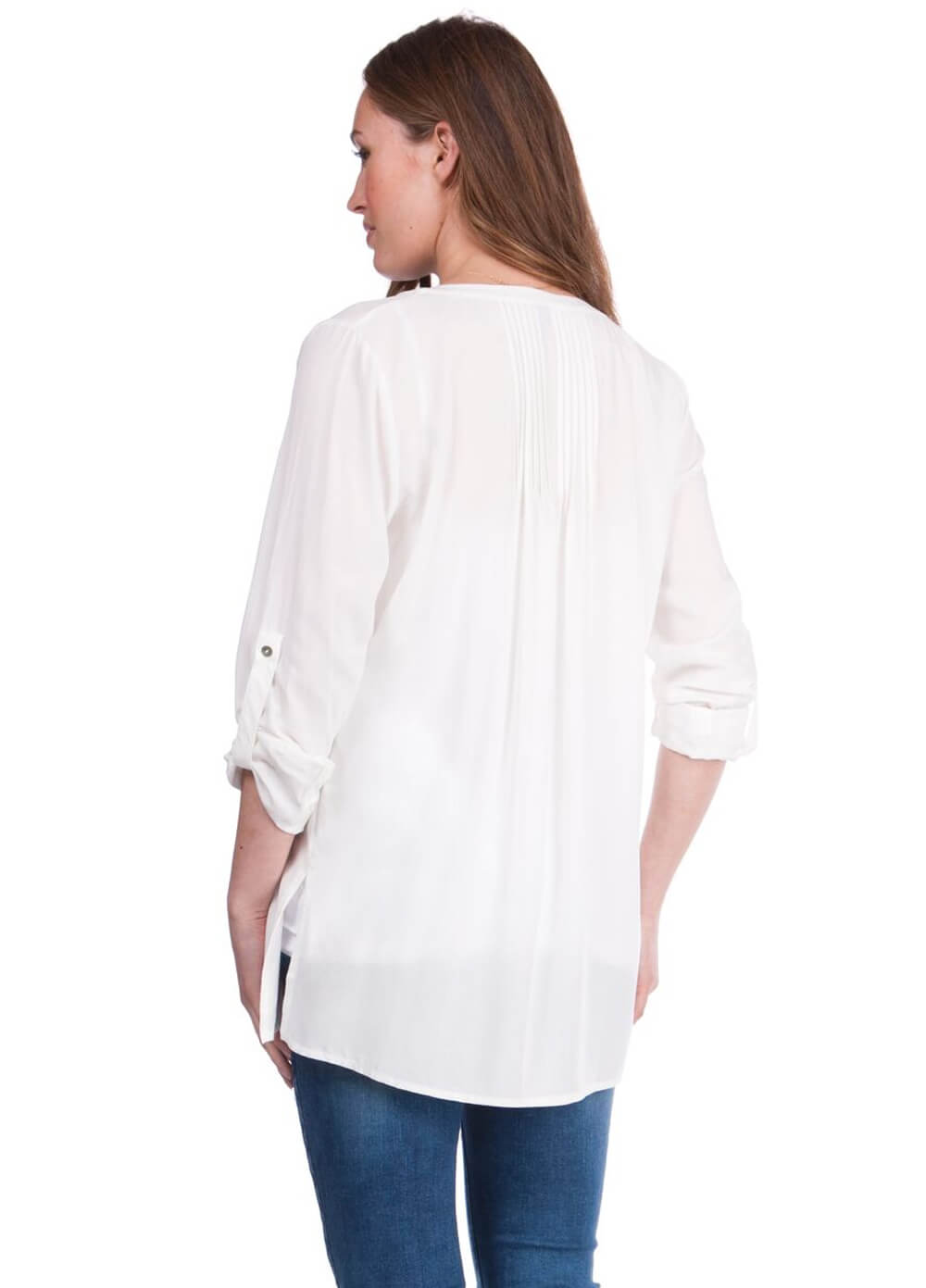 Fern Pleated Maternity Blouse in Ivory by Seraphine