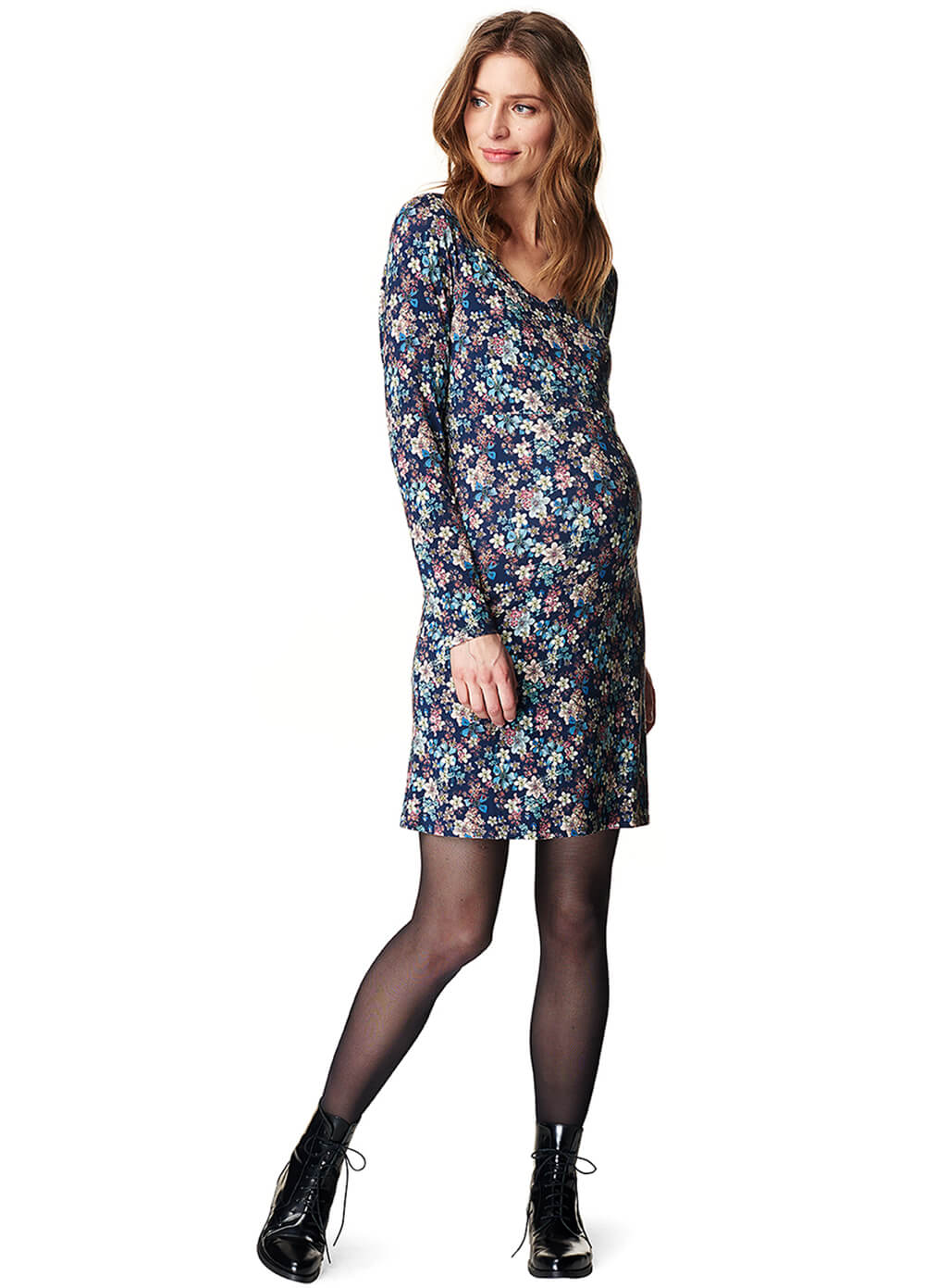 Zip Front Maternity Nursing Dress in Navy Floral by Esprit