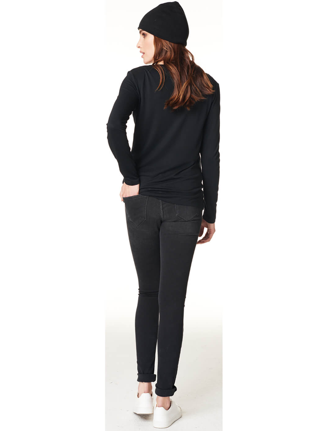 Gemma Knot Hem Maternity Nursing Shirt in Black by Noppies