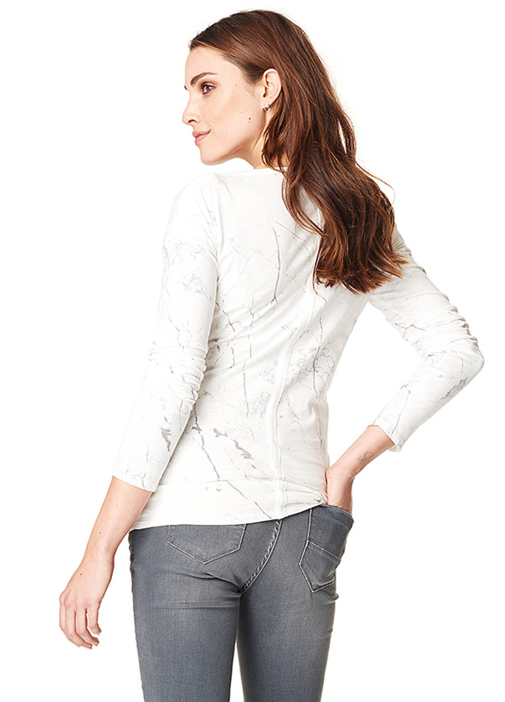 Hedy Long Sleeve Marble Maternity Top by Noppies