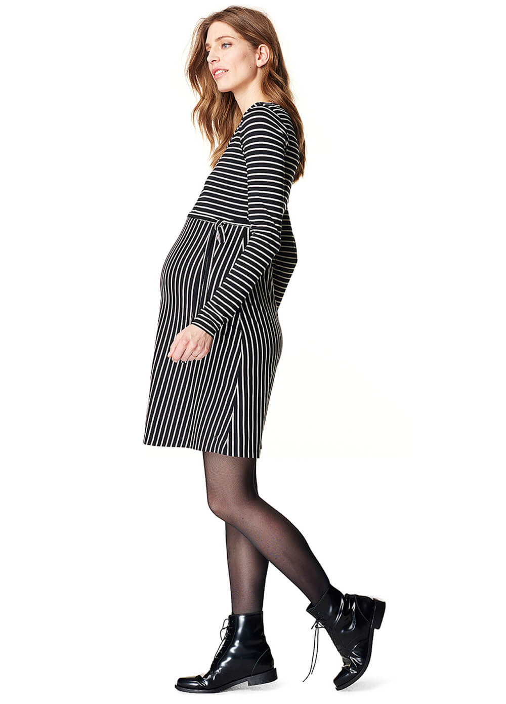 Black Striped Zip Maternity Nursing Dress by Esprit