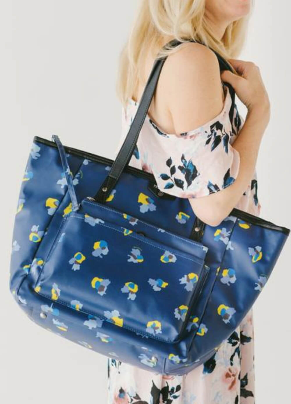 Everyday Tote Plus Nappy Bag in Navy Floral by TWELVE little