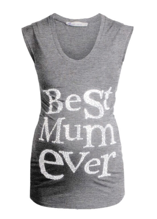 Best Mum Ever Maternity Tee in Grey by Queen mum