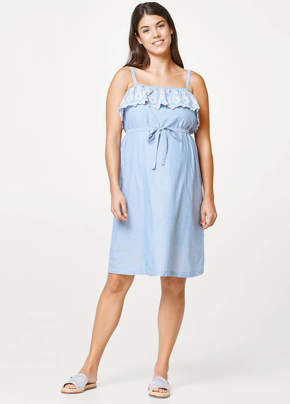 Embroidered Ruffle Maternity Dress in Blue by Esprit