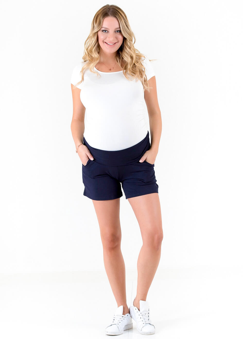 Jackson French Terry Maternity Shorts in Navy by Trimester