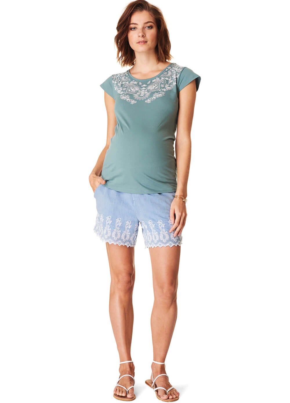 Embroidered Cotton Maternity Shorts in Blue by Esprit