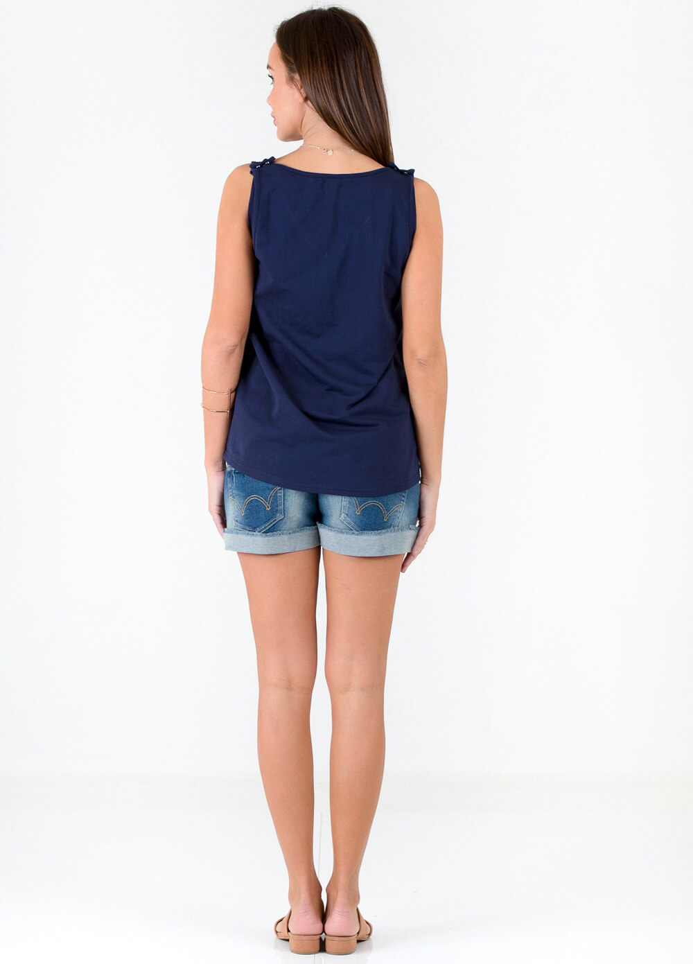 Nathan French Terry Postpartum Nursing Tank Top in Navy by Trimester