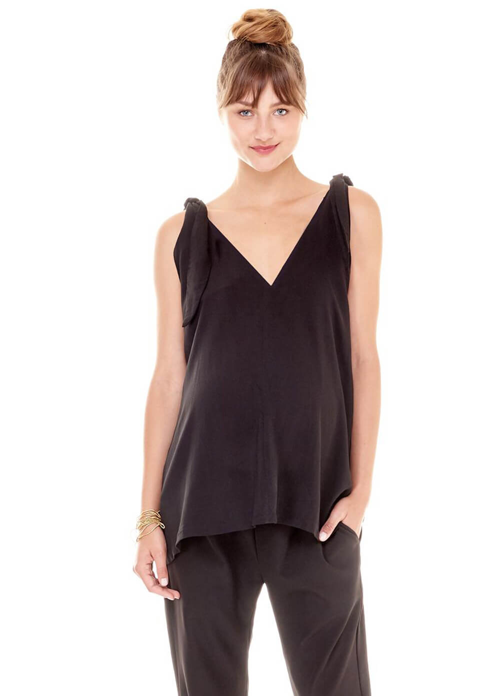Shyla Maternity Tie Top in Black by Imanimo