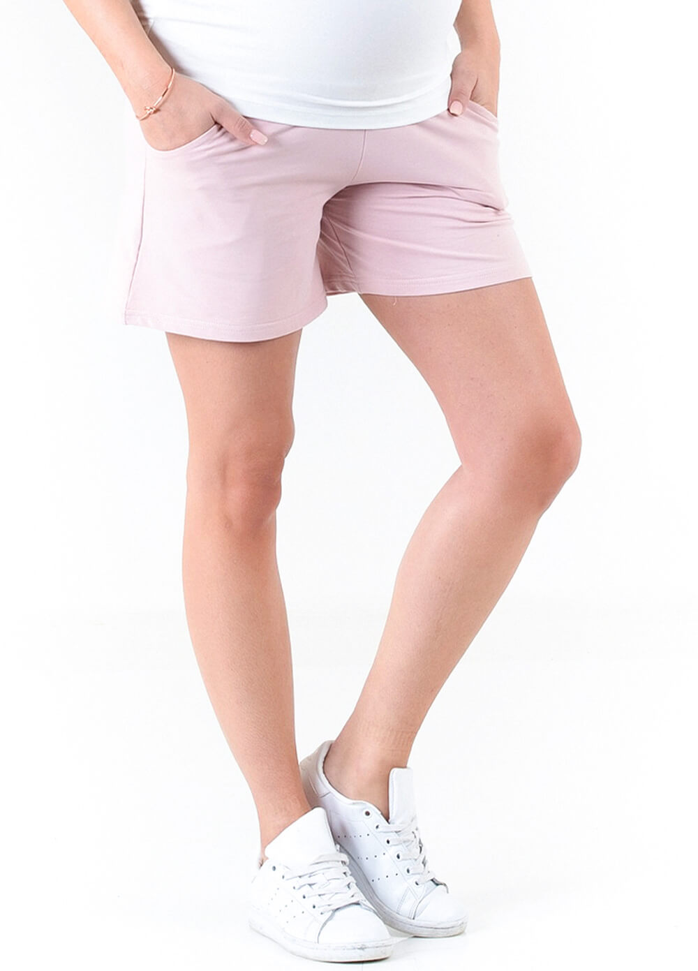 Nolan French Terry Maternity Shorts in Pink by Trimester